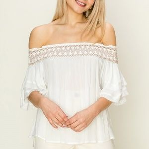 🌟Camille bohemian off the shoulder top